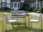 Tischuntergestell KG 30 mit Steinplatte als Teil einer vollständigen Sitzgruppe - de greiff design